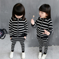 2016 autumn children's clothes girls sets stripe long sleeve zipper girl sports suits for girls kids top+pants 2 pcs outfits