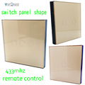 EU/UK Vhome Dual control Design 3 Gnag 1 Way gold Crystal Glass Touch Switch Wall panels RF Remote Control for led lighting