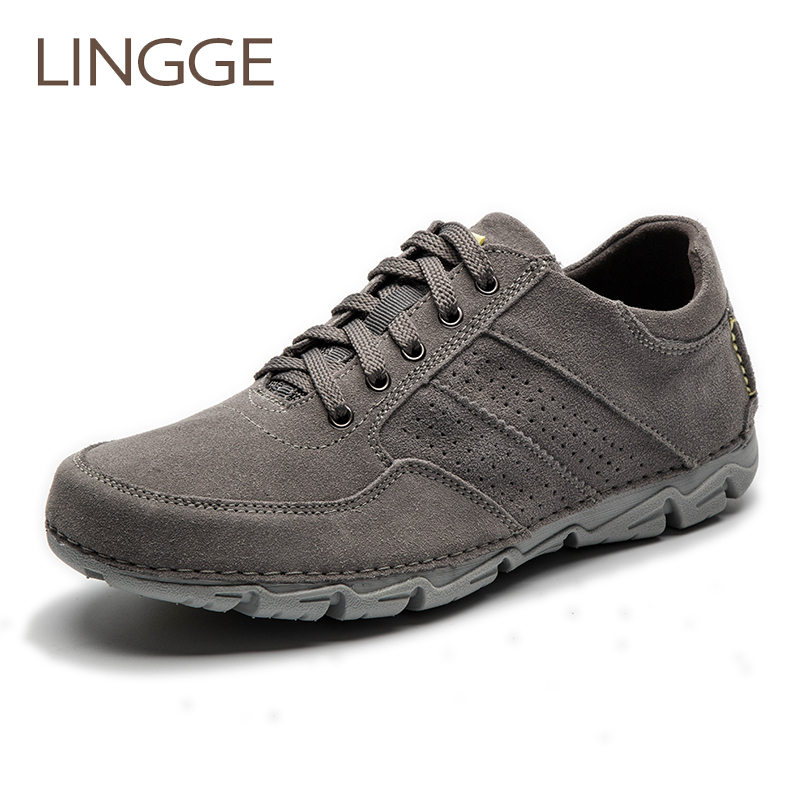 LINGGE Brand Men Shoes Casual Shoes For Men Cow Suede Shoe Leisure Male Breathable Men'S Daily Shoe Lace Up Flats Handmade
