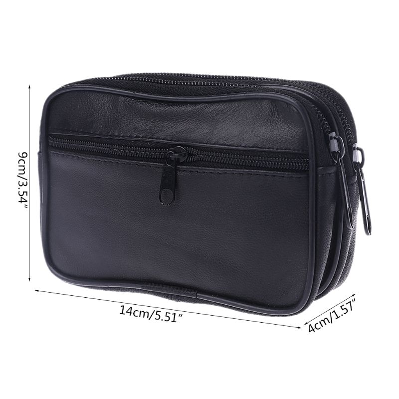 Fashion Women Men Genuine Leather Coin Purse Card Money Holder Wallet Pouch Mini Purse Double Zipper Small Change Bag New