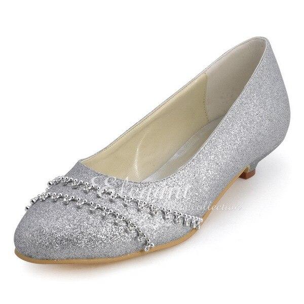 Shoes Woman B129B Silver Closed Toe Rhinestone Low Heel ...