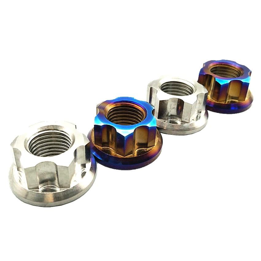 Titanium Flange Nut Ti Axle Nuts for Motorcycle Modified M10 M12 and M14 Hexagonal Titanium Screw Nuts Ti Fastener 2 pcs