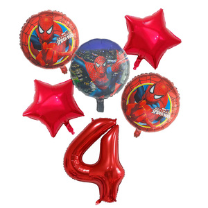 Image 4 - 6pcs/set Spiderman Foil Balloons Avengers Number Balloon Birthday Party Decorations Super hero Boy Kids Toys baby shower Globos
