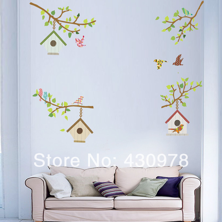 QZ1063 Free Shipping 1Pcs Green Leaf Branch Bird Birdcage House Sweet <font><b>Home</b></font> Removable PVC Wall Stickers <font><b>Elegant</b></font> <font><b>Home</b></font> <font><b>Decoration</b></font>
