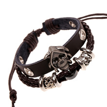 New Skull Flower Retro Braided Leather Wristband 2Color Bracelets Charm Bangle for Women Men Jewelry Accessory