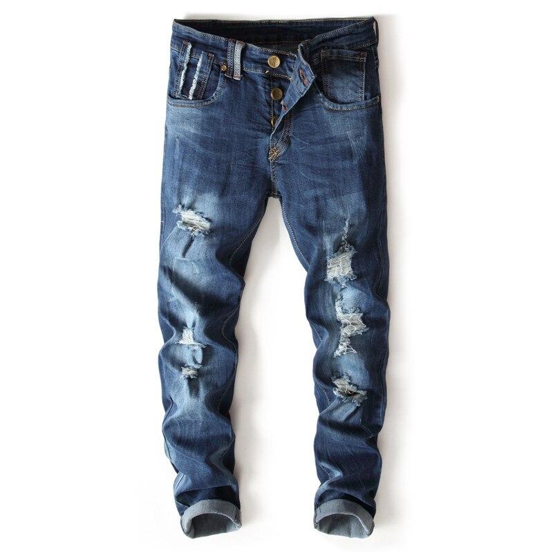 2017 Mode Marke Europäische Amerikanische Herren Jeans Luxus Männer Slim Denim-hosen Loch Dünne Tasten Blue Jeans 7115 # Bereitstellung Von Annehmlichkeiten FüR Die Menschen; Das Leben FüR Die BevöLkerung Einfacher Machen