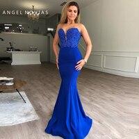 Long Elegant Royal Blue Mermaid Evening Dresses 2019 Moroccan Kaftan Formal Prom Gown arabic robe dubai