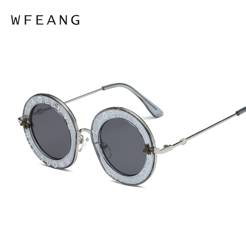 1701d0378a1 WFEANG Retro Round Sunglasses English Letters Little Bee Sun Glasses Men  Women Brand Glasses Designer Fashion Male Female-in Sunglasses from Apparel  ...