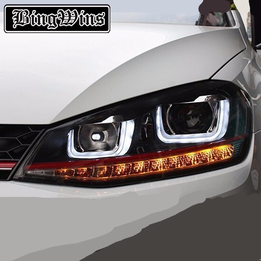 HQ Car Head Lamp for VW Golf 7 Headlights Golf7 GTI R20 LED Headlight DRL H7 D2H Hid Option Angel Eye Bi Xenon Beam Front light free shipping for vland car styling head lamp for vw golf 7 headlights led drl led signal h7 d2h xenon beam