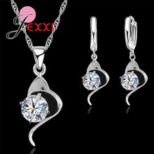 Classic Wedding Jewelry Set 925 Sterling Silver Cubic Zircon Flower Necklace Drop Earrings for Women Bride Top Quality(China)