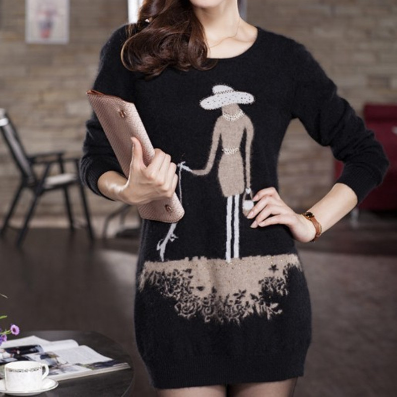 Women O Neck Long Sweaters Pullovers JECH 2018 Spring Winter Cashmere Wool Fashion Casual Loose Knitted Solid Long Sleeves Dress