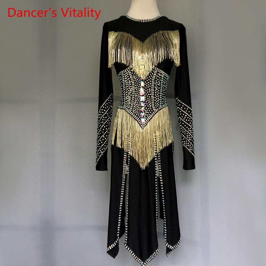 Adulte Enfants Latine De Danse Costumes Sexy Dos Creux Cut Diamant Robe Femmes/Filles Latine Salle De Bal De Danse Performance Vêtements
