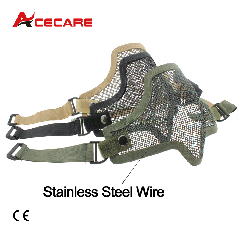 Acecare PCP Anti Strike Airsoft Paintball Mesh Half Face Double Strap Protective Mask