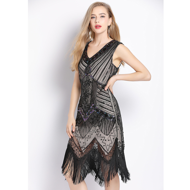 black sequin flapper dress for women