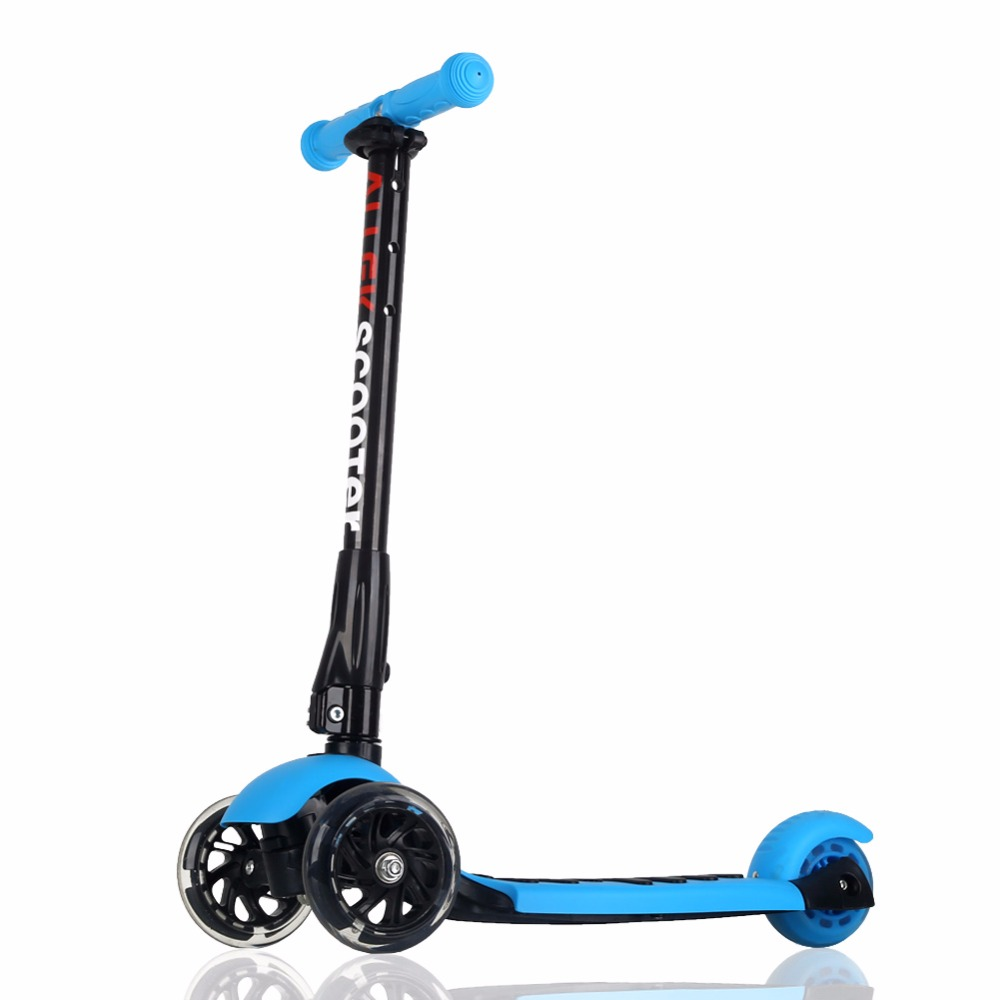 US Ship Blue Scooters Allek Foot Kick Scooter Folding 3 Wheels with LED Light Up T-bars for Kids folding kick scooters foot scooters children best birthday gift with flash pu wheels free shipping