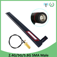 5pcs 2.4GHz 5GHz 5.8Ghz Antenna real 8dBi SMA Male Connector Dual Band wifi Antena + 21cm RP-SMA Male Pigtail Cable eightwood 2 4ghz 5ghz dual band 9dbi omni directional antenna 802 11n b g rp sma male connector 35cm u fl mini p 2pcs