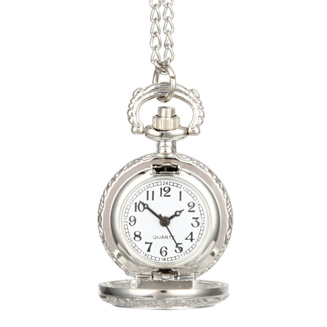 Fashion Vintage Pocket Watch Alloy Roman Number Dual Time Display Clock Necklace
