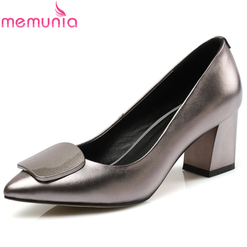 купить MEMUNIA 2018 fashion lady genuine leather spring autumn single shoes elegant women pumps shallow pointed toe high heels shoes по цене 2868.95 рублей