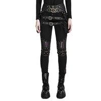 Черный стимпанк из искусственной кожи шить мотобрюки для женщин высокая талия Готический Sreet личность узкие брюки Леггинсы для