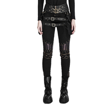 Black Steampunk Pu Leather Stitching Trousers Women High Waist Gothic Sreet Personality Pencil Pants Leggings