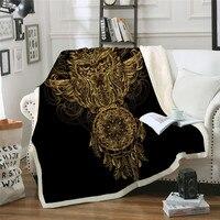 Golden Fox Sherpa Throw Blanket Animal Stars Bedspread Paisley Leaves Flower Velvet Plush Bed Blanket