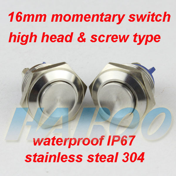 HABOO diameter 16mm high head metal push button switch metal waterproof IP67 shipping free