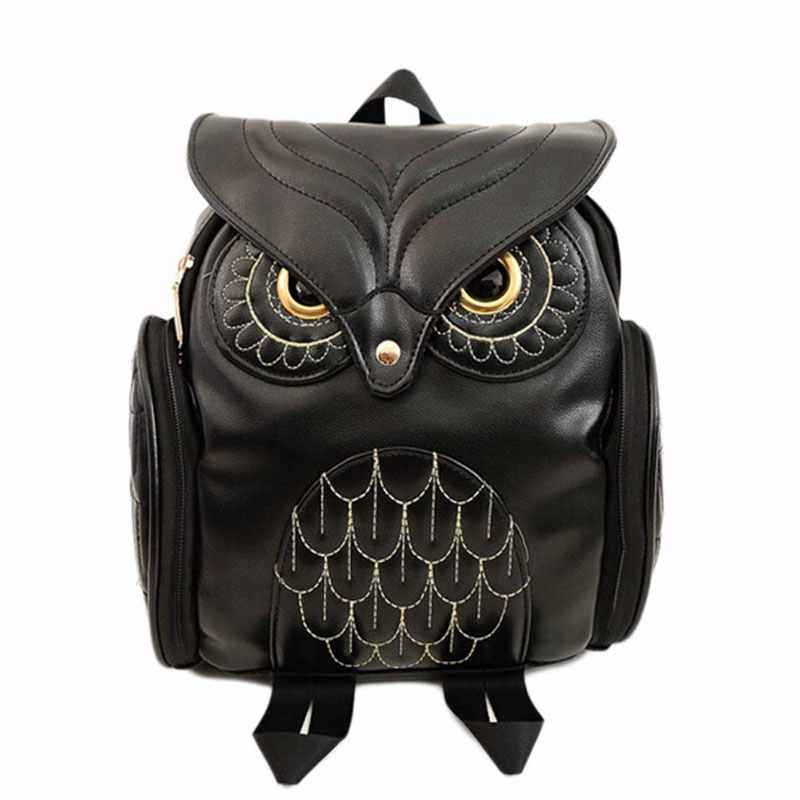 Fashion Women Backpack Newest Stylish Cool Black PU Leather Owl Backpack Female Hot Sale Women shoulder bag school bags