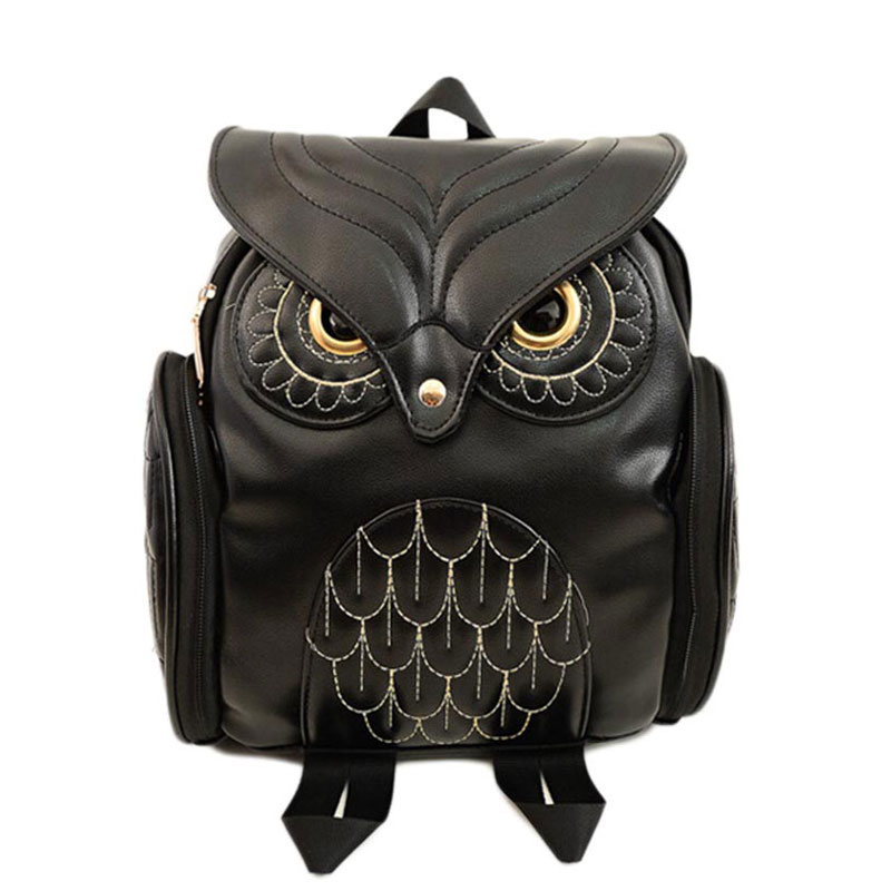 Fashion Women Backpack Newest Stylish Cool Black PU Leather Owl Backpack Female Hot Sale Women shoulder bag school bags backpack women 2017 newest stylish cool faux suede small backpack female hot selling women bag sac a dos rugzak fast shipping