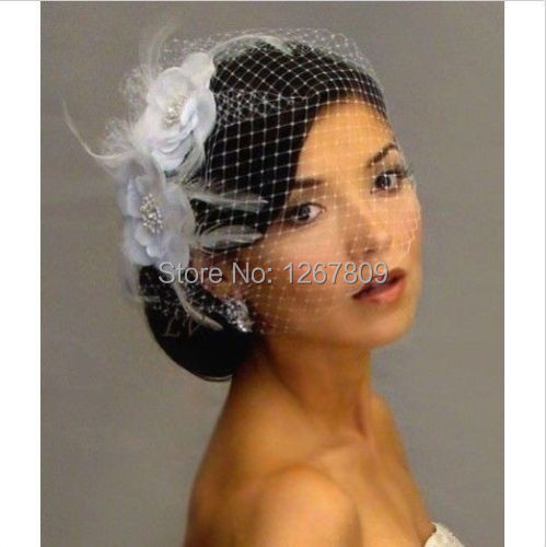 New Birdcage Face Wedding Bridal Veil Fascinator Feather White Flowers