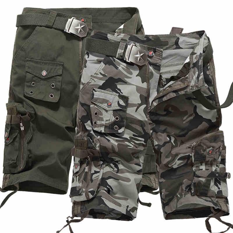 Korte Broek Camouflage Heren.Camo Heren Zomer Katoen Combat Tactische Multi Pocket Korte Broek