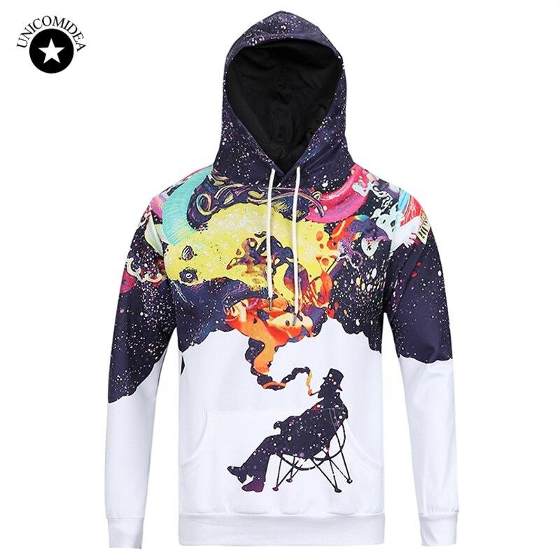 New 3D Novelty Sweatshirts Autumn Casual Tops Clothing Print Funny Smoking Man Hooded Hoodies
