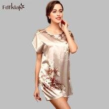 Summer Dress Sexy Silk Nightgown Sleepshirts Women Short sleeves Loose Nightwear Female Lounge Sleepwear Nightshirt E0044