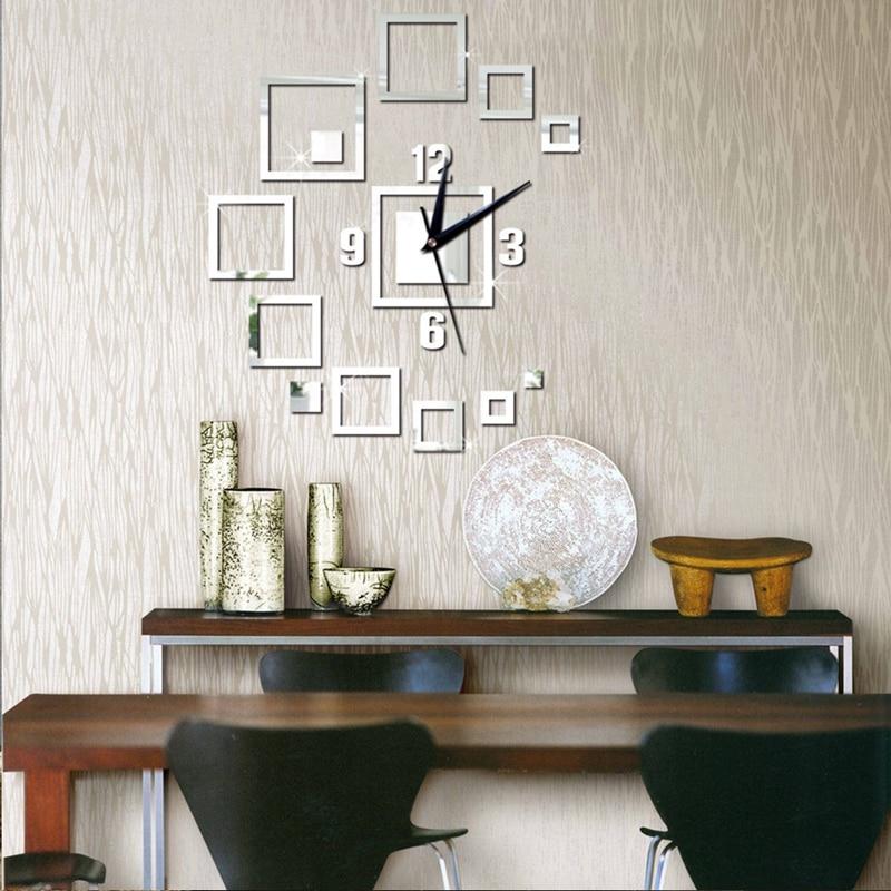 Fashion Square 3D Mirror Surface Sticker DIY Wall Clock ...