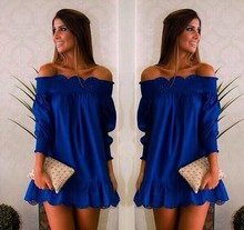 2018 Women Off Shoulder Party Dresses Blue Women Casual Loose Dress Ruffle Sleeve Mini Strpless Dress Plus Size