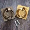 DRELD 1 шт. латунная ручка двери китайский стиль шкаф кольцо ящик медная ручка мебельная фурнитура для деревянной коробки