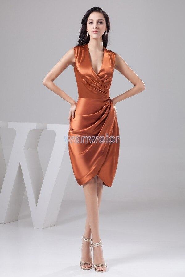 2015 nouveau design col en v genou longueur personnalisé sans manches pli sexy courte mère de la mariée robes livraison gratuite photo réelle