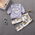 New 2017 baby boy clothes cotton cartoon  long sleeved dinosaur t-shirt+pants infant clothes 2pcs suit baby girl clothing sets