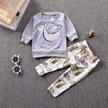 Novo 2017 baby boy roupas de algodão dinossauro dos desenhos animados manga comprida t-shirt + calças infantis roupas 2 pcs terno conjuntos de roupas de bebê menina