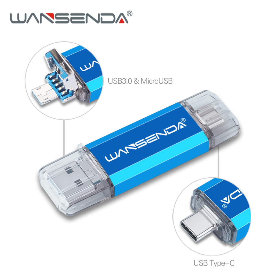 WANSENDA 3 In 1 OTG USB Flash Drive USB3.0 & Type-C & Micro USB Stick 3.0 Pen Drive 32GB 64GB 128GB 256GB Pendrives Flash Memory