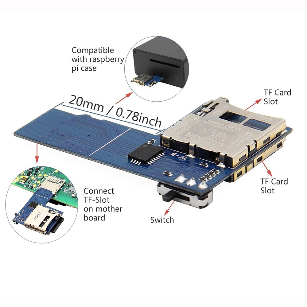 2 In 1 Dual System Switcher Dual TF Card Adapter Memory Board Dual TF Card Micro SD For Raspberry Pi 3 Pi3 Zero W Model B+/2B/3B