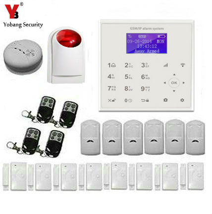 YobangSecurity Touch Keypad LCD Display Wifi GSM IOS Android APP Wireless Voice Message Home Burglar Security Fire Alarm System yobangsecurity touch keypad wifi gsm gprs rfid alarm home burglar security alarm system android ios app control wireless siren