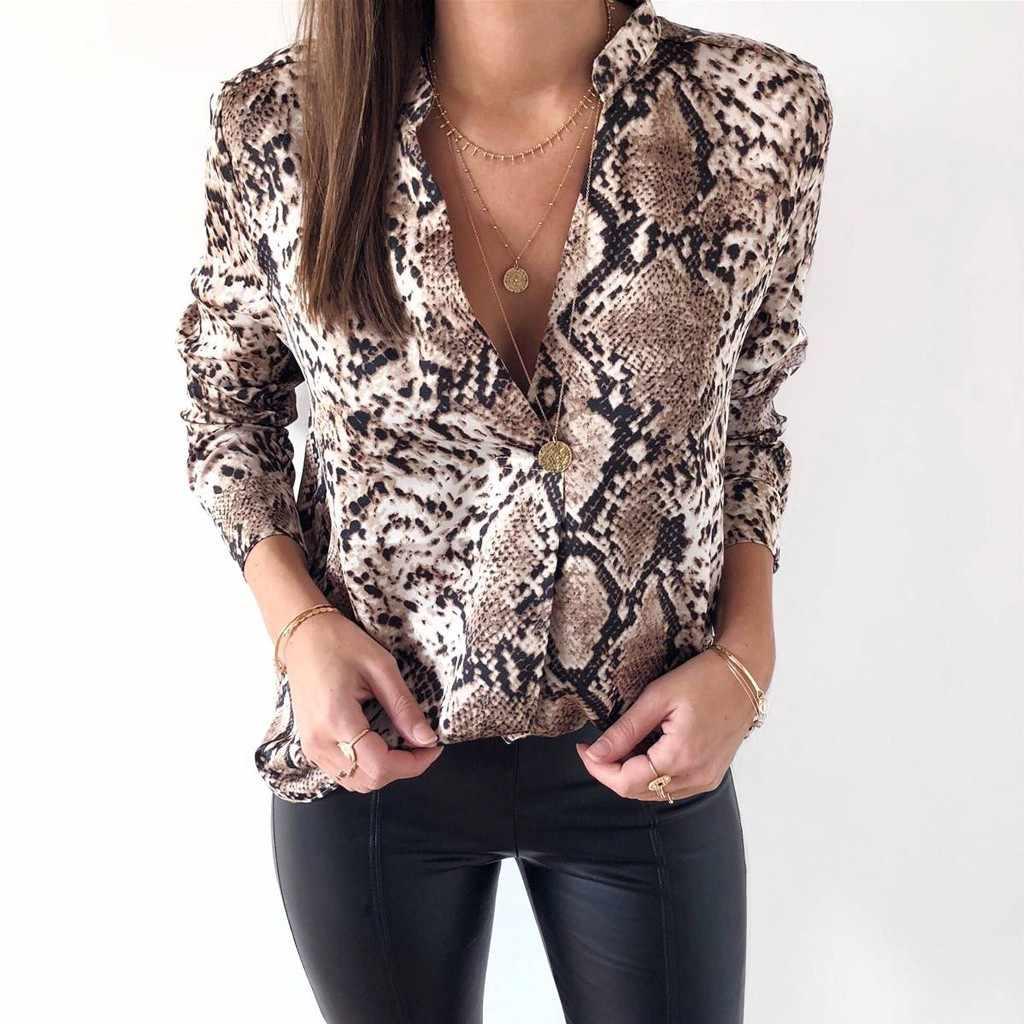 59000e67bbee Feitong 2018 Womens Long Sleeve Snake Print Blouse Casual Loose Shirt  Ladies Top