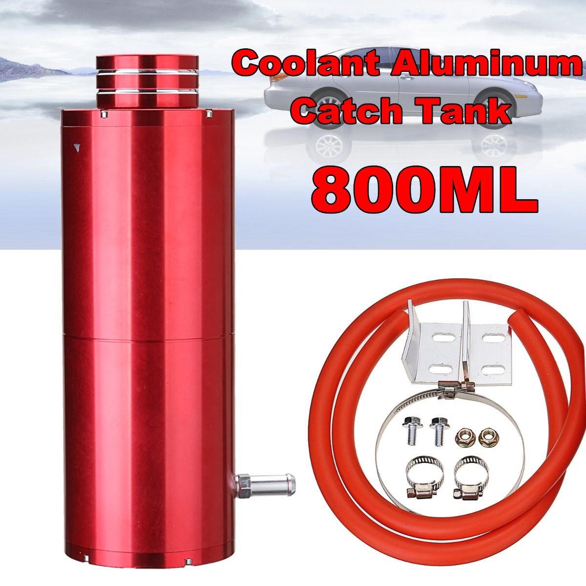800 ml Rouge Universel Cylindre Radiateur De Refroidissement En Aluminium Catch Réservoir Débordement Réservoir Kit