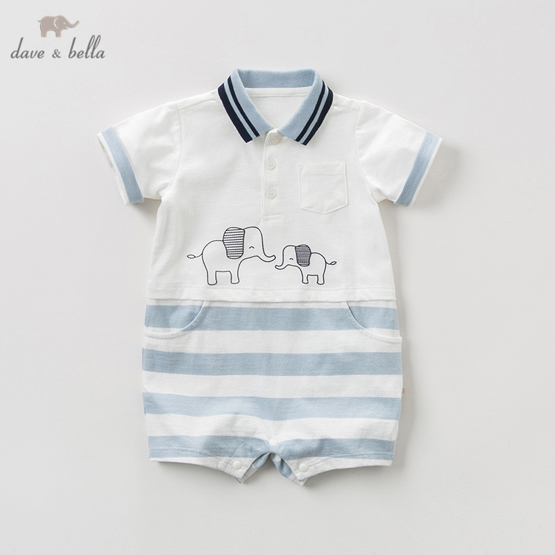 DBA9552 Dave Bella Summer New Born Baby Boy Short Sleeve Romper Infant Toddler Jumpsuit Children Boutique Romper 1 Piece