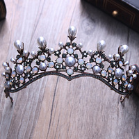 2016 Trendy Gorgeous Crystal Wedding Round Tiaras Rhinestone Crown For Bride Princess Birthday Diadem Hair Jewelry