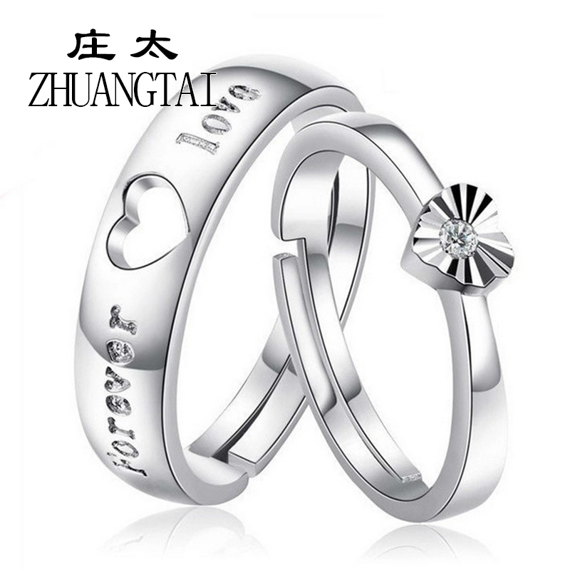 ZHUANGTAI Charm Heart Rings for Men and Women Plated Forever Love Engagement Wedding Jewelry Open Couple for Lovers Favourite