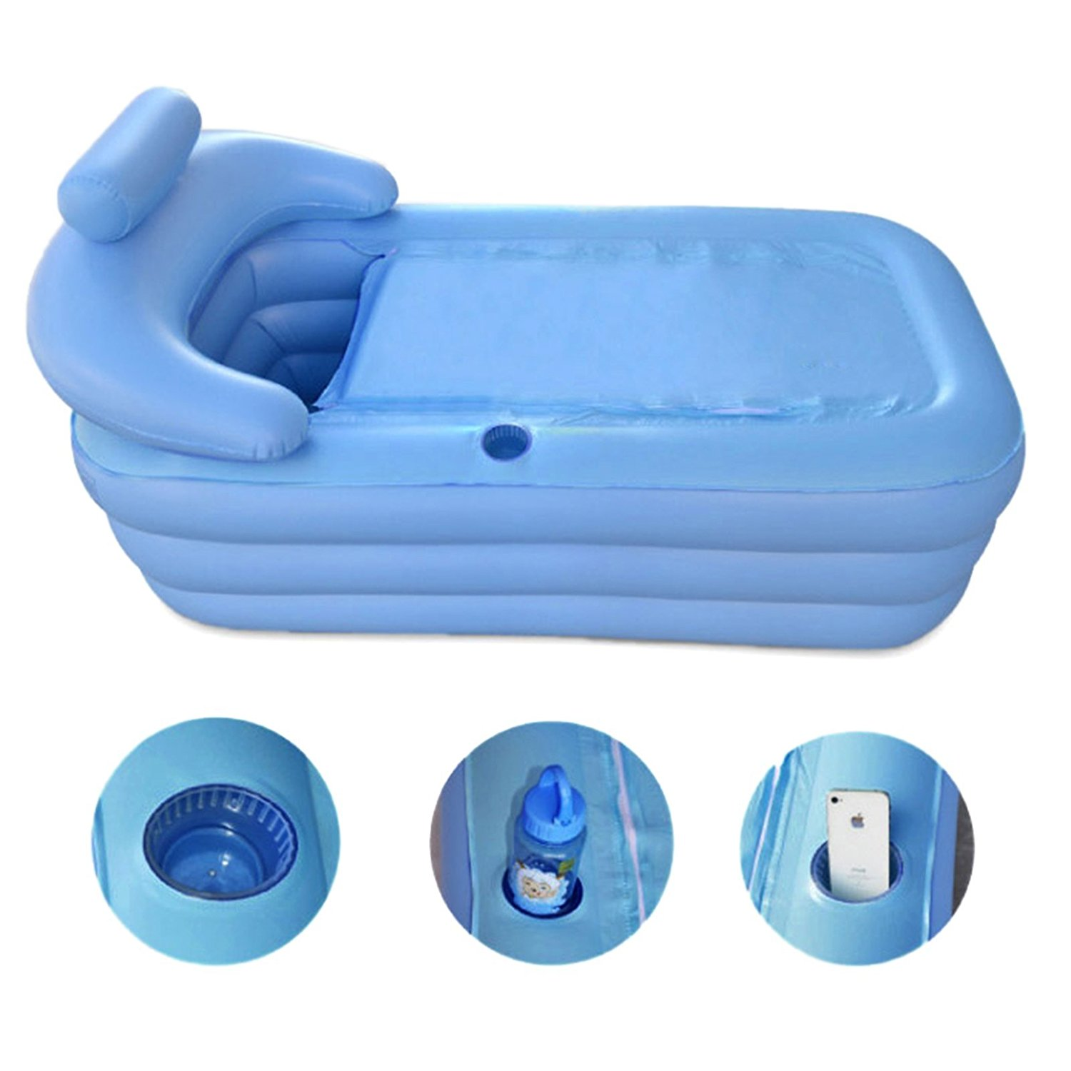 Inflatable Bath Tub PVC Portable Adult Bathtub Bathroom SPA with Air ...