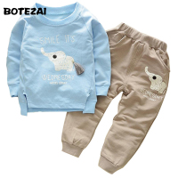 2017 Spring Fashion Style Autumn Cartoon Elephone Baby Boys Sets Long Sleeve Shirt Jeans Pants 2Ps