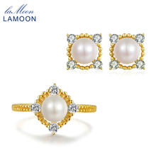 LAMOON S925 Sterling Silver Jewelry 7-8mm Freshwater Pearl Jewelry Set for Women Wedding Party Stud Earring Ring Sets V036-4(China)
