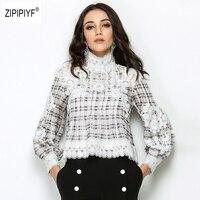 Новый ретро дамы сладкий кружева крюк пуловеры рубашки Для Женщин Причинно плед Фонари рукав Весенняя блуза рубашка B1184